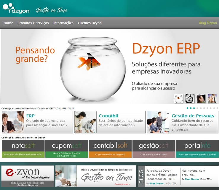 Home do site da Dzyon S/A
